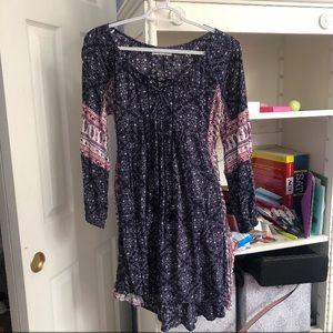 Paisley Printed Long Sleeve Lace Up Dress